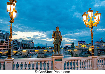 Sculpture on Oko bridge in Skopje in the evening