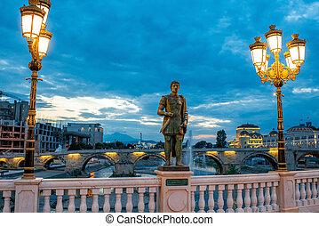 Sculpture on Oko bridge in Skopje in the evening