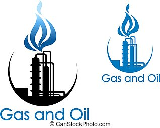 Gas and oil industry symbol with extensive piping of...