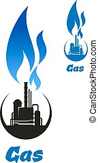 Gas processing black silhouette with blue flame - Natural...
