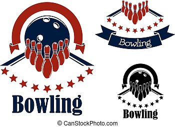 Bowling badges with lanes, balls and ninepins - Bowling...