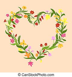 Floral frame with field flowers and herbs - Floral heart...
