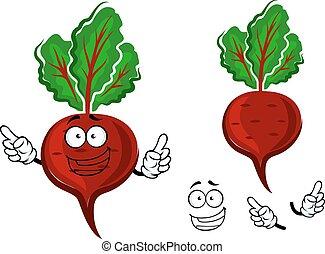 Cartoon fresh red beetroot vegetable - Juicy bright red...