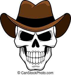 Cowboy skull character with brown felt hat - Spooky cowboy...
