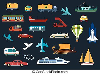 Transportation flat icons with road, water, rail, air...