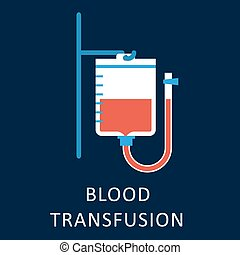 Blood transfusion flat icon with blood bag hanging on hook...