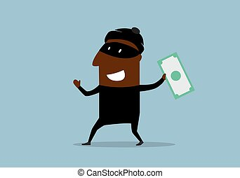 Happy thief with stolen dollar bill