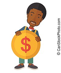Black Businessman holding a big coin