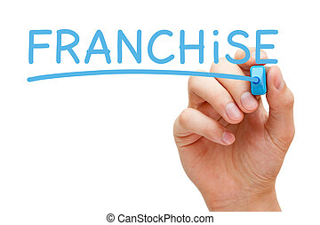 Franchise Blue Marker - Hand writing Franchise with blue...