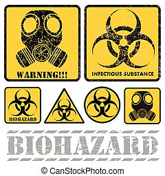 biohazard - set of signs warning of biological hazards