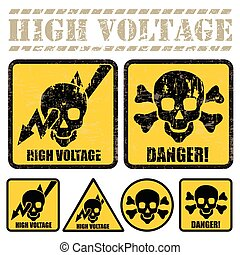 high voltage - set of signs warning of the danger of high...