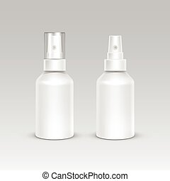 Spray Bottle White Plastic Packaging Container Set. Medical...