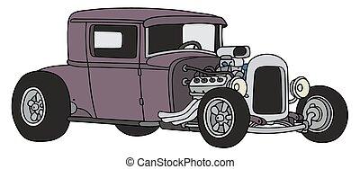 Violet hot rod - Hand drawing of a funny vintage violet...