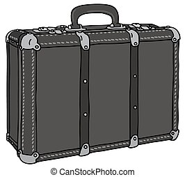 Black suitcase - Hand drawing of a classic black leather big...