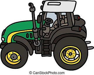 Green tractor - Hand drawing of a green tractor - not a real...