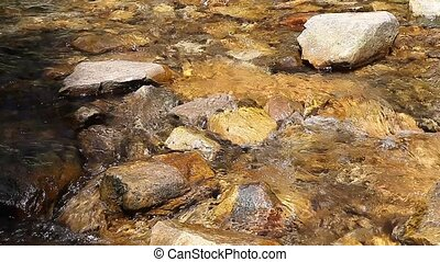 Mountain creek crystal clear water on sunny day