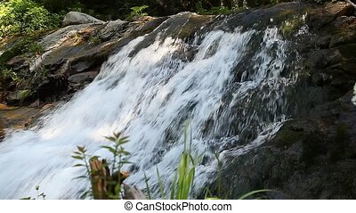 water flowing rapidly river cascade - Mountain creek water...