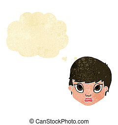cartoon sulking woman with thought bubble