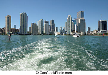 Downtown Miami Skyline from the Biscayne Bay, Florida USA