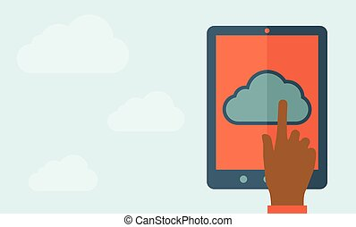 Finger touching cloud. - A finger touching cloud on a tablet...