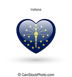 Love Indiana state symbol Heart flag icon Vector...