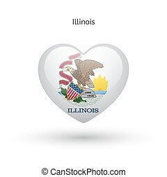Love Illinois state symbol. Heart flag icon. Vector...