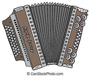 Vintage accordion - Hand drawing of a vintage accordion