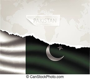 paper with hole and shadows PAKISTAN flag - torn paper with...