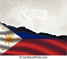 paper with hole and shadows PHILIPPINES flag - torn paper...