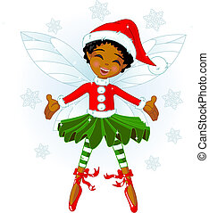 Little Christmas fairy - Cute Christmas fairy flying in the...