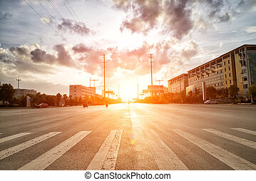 skyline,road and building at sunset