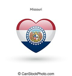 Love Missouri state symbol Heart flag icon Vector...