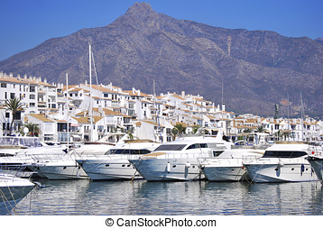 Boats moored in the harbour. Puerto Banus, Malaga, Spain