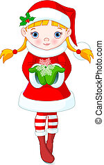 Christmas girl - Cute little girl holding a beautiful...