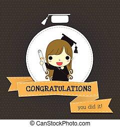 congratulations for girl long hair graduate - graduate woman...