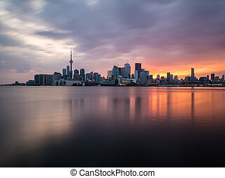 Toronto Skyline at Sunset - A view of the Toronto Skyline at...