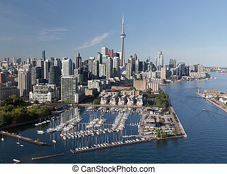 Downtown Toronto Viewed from the Air - A view of buildings...