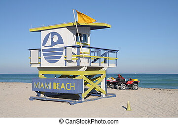 Lifeguard Tower at Miami South Beach, Florida USA