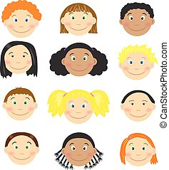 Different kids faces - Set of cartoon childrens faces Vector...