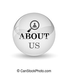 About us icon. Internet button on white background
