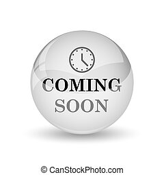 Coming soon icon. Internet button on white background
