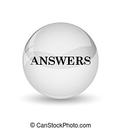 Answers icon. Internet button on white background