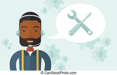 African operator with headset as customer service