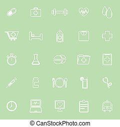 Health line icons on green background