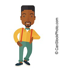 Black man standing - A confident black handsome man standing...