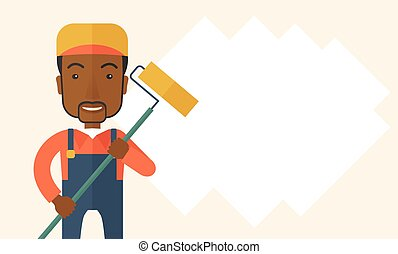 Standing african glass cleaner. - A young african glass...