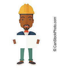 African-american Construction worker holding the plan - A...