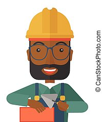 Black Mason man with trowel in hand