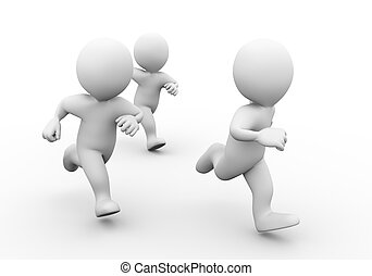 3d people racing - 3d illustration of people running....