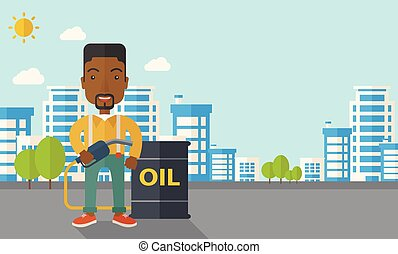 African Businessman with oil can and pump. - An african...